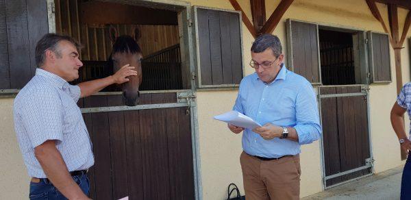 07/2018 - Saint-Sauveur-de-Flée - Rencontre d'un éleveur de chevaux dans le cadre d'un projet d'implantation d'éoliennes