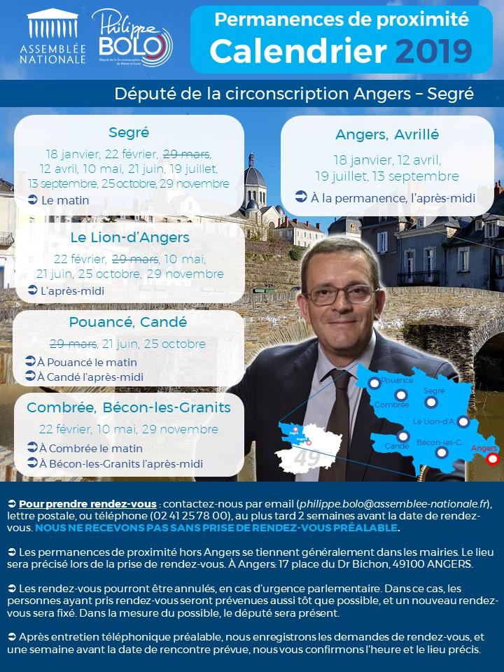 Calendrier 2019 des permanences de proximité de Philippe Bolo, député de Maine-et-Loire