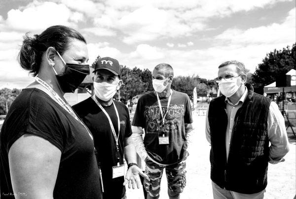 09/2020 - Le Louroux-Béconnais - Départ du Relai1900 avec Esther Baron (championne d'Europe 200 mètres dos), Christophe Hamard et Nicolas Granger (meilleur nageur Master mondial)