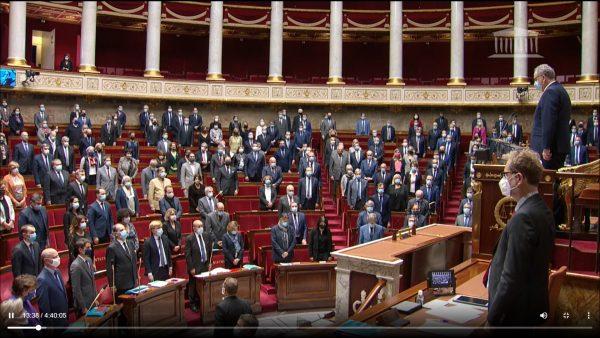 10/2020 - Paris, Assemblée nationale - Hommage Samel Paty, enseignant assassiné par un terroriste